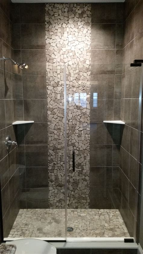 Bathroom Tile Shower Design by Grey Shower With Pebble Tile Accents As Seen In Our 20 000