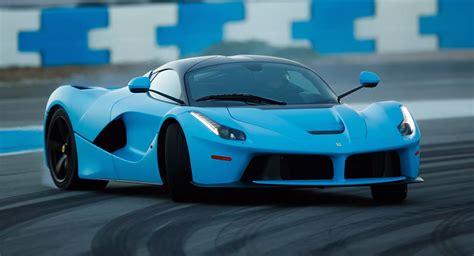 Two Baby Blue Ferrari Laferraris Hit The Racetrack In ...