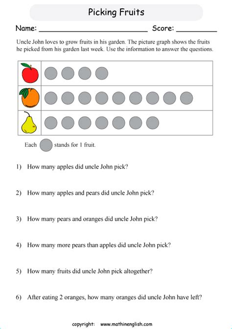 analyze pictograph scale  printable grade  math worksheet