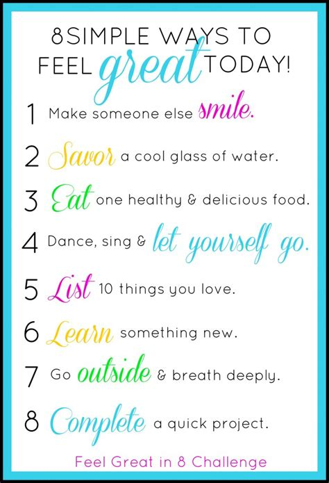 8 Simple Ways To Feel Great Today!  Feel Great In 8 Blog