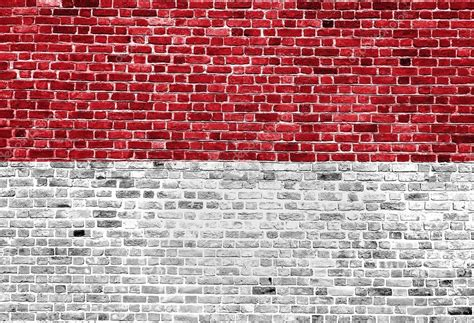 flag  indonesia painted  brick wall background