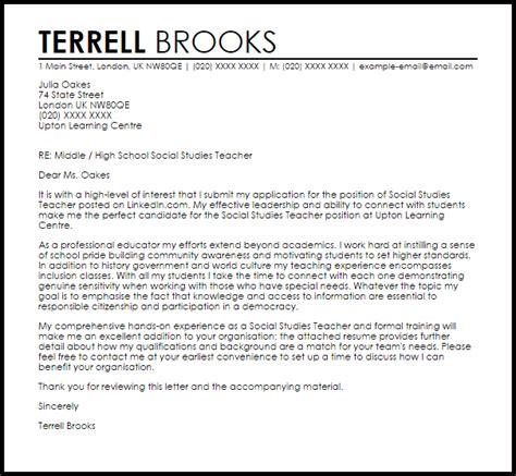 High School Social Science Resume by Social Studies Cover Letter Sle Livecareer