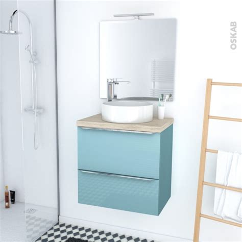 ensemble salle de bains meuble keria bleu plan de toilette ch 234 ne naturel vasque ronde miroir et