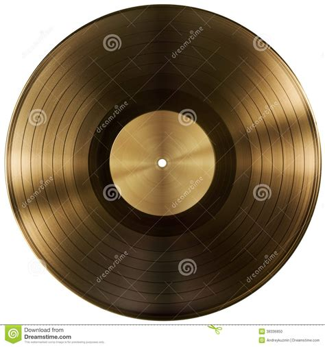 gold  vinyl record disc isolated  clipping path stock photo