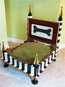 Condo blues end table upcycled into a whimsical dog bed for Whimsical dog beds