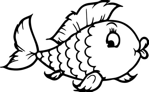 Cartoon Fish Girl Coloring Page Sheet