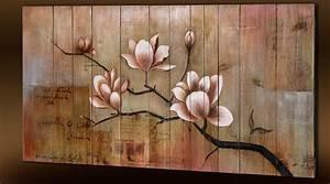 Tableau En Bois Décoration : peinture florale la main sur support bois ~ Teatrodelosmanantiales.com Idées de Décoration