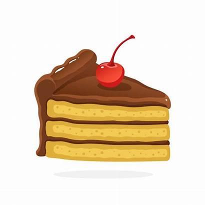 Cake Piece Cartoon Slice Vector Clipart Cherry