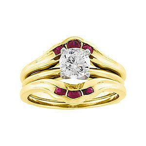 3 genuine ruby ring guard wrap solitaire enhancer 14k yellow gold ebay
