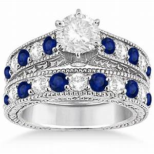 Antique diamond sapphire bridal ring set 14k white gold for Sapphire engagement ring and wedding band set