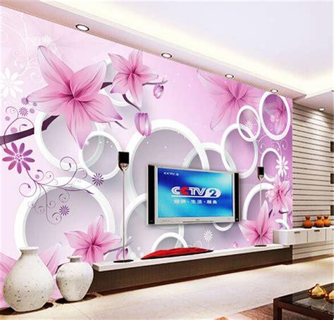 elegant pink lily photo wallpaper custom flower wall