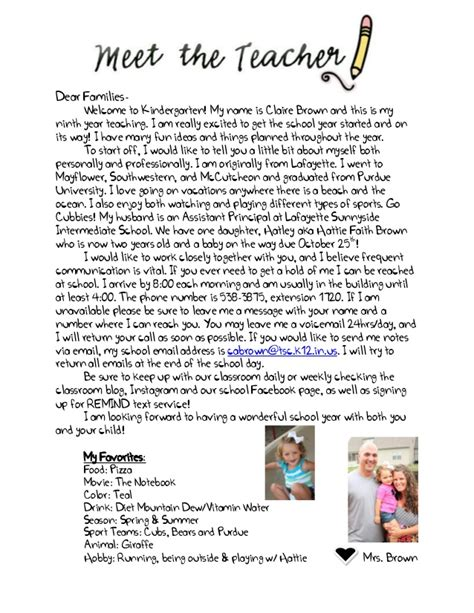 teacher welcome letter parent packet kindergarten 2014 presentation