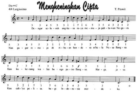 not lagu suket teki lirik lagu partitur mengheningkan cipta beserta notasi tempo lagu
