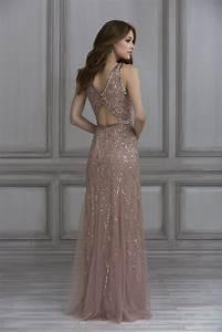 Papell Platinum Bridesmaid Dress Style 40135