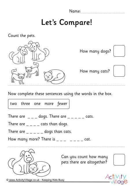 comparing numbers    pets