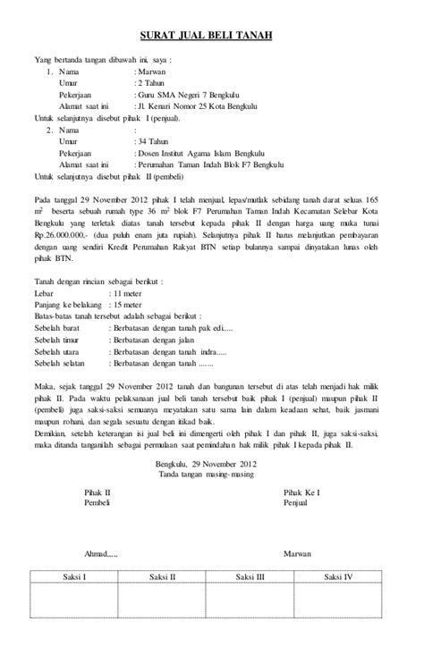 contoh surat perjanjian jual beli tanah
