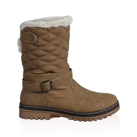 dd womens quilted ladies faux fur grip sole winter snow