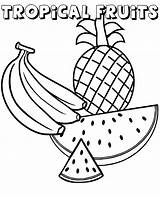 Watermelon Pineapple Fruits Banana Coloring Pages Tropical Exotic sketch template