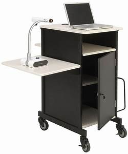 document camera cart locking cabinet adjustable side shelf With document camera cart stand