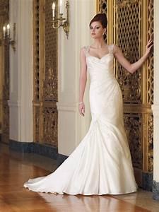 sweetheart cap sleeves beaded satin mermaid trumpet With satin trumpet wedding dress