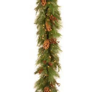 6 ft white pine pre lit led garland battery operated christmas garland at hayneedle