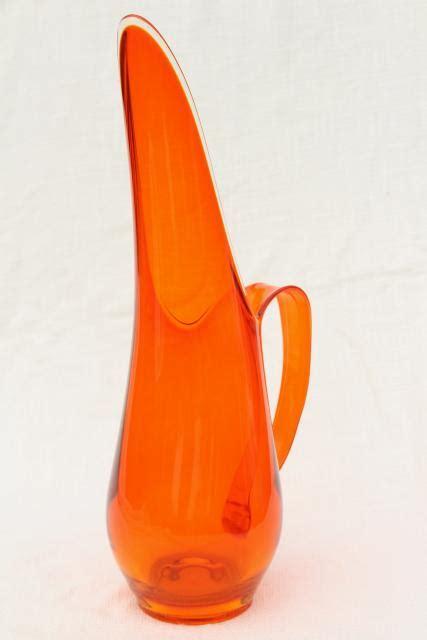 vintage viking glass pitcher orange epic   tall