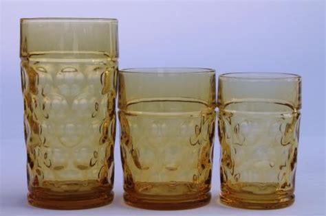 coin spot thumbprint amber glass pitcher tumblers