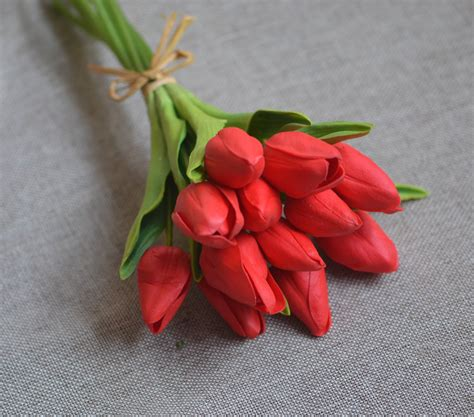 red tulips real touch tulips for diy wedding bouquets
