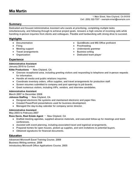 resume for school office assistant administrative assistant resume exle free admin sle resumes livecareer