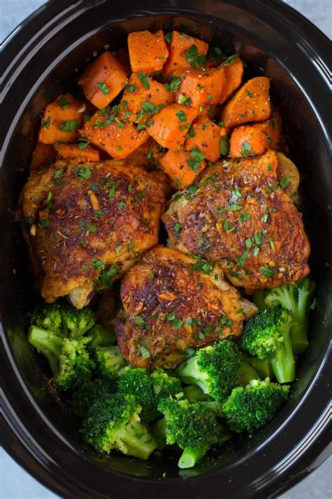 In this chicken and asparagus recipe, we use one baking sheet to whip up dinner quickly, veggies included. Slow Cooker Chicken with Sweet Potatoes and Broccoli ...