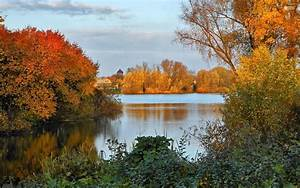 autumn, , scenery, , and, , calm, , river, wallpapers, hd, , , , desktop
