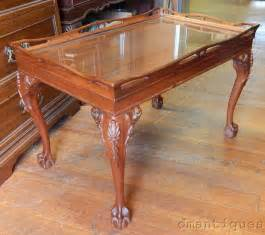 antique mahogany tea coffee table carved floral claw glass top tray ebay