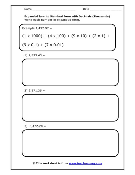 Standard Form to Expanded form with Decimals (Thousands)