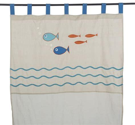 voilage fenetre chambre fishy voilage 110x250cm à pattes pour enfant bord de mer