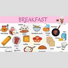Breakfast Food List Useful List Of Breakfast Foods  7 E S L