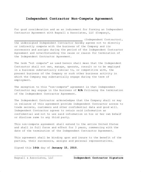 Business Templates Noncompete Agreement by Non Compete Agreement 11 Free Word Pdf Documents