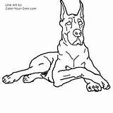 Dane Coloring Dog Drawings Drawing Line Animal Stencil Pages Danes Dogs Quilts Cute Sketches Own Draw Printable Colouring Puppy Sketch sketch template