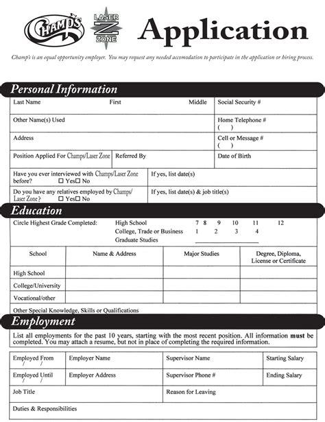 hiring application form generic employment application