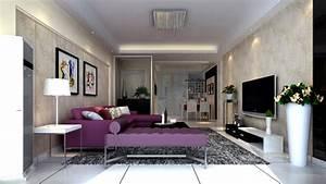 Modern living room purple couch Interior Design