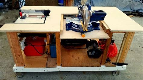 mobile workbench  built  table miter saws