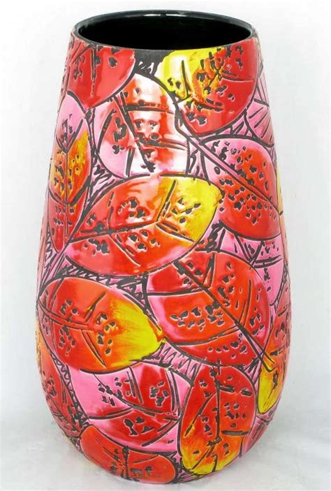 Colorful Decorative Vases by Large And Colorful Incised Pottery Vase At 1stdibs