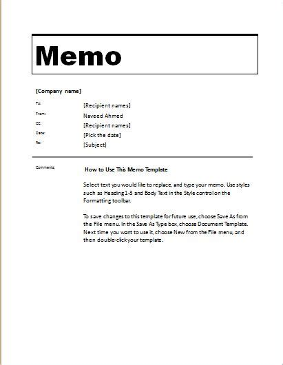 Memo To File Template by 24 Free Editable Memo Templates For Ms Word Word Excel