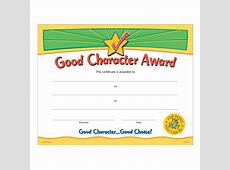 Good Character Award Gold FoilStamped Certificates