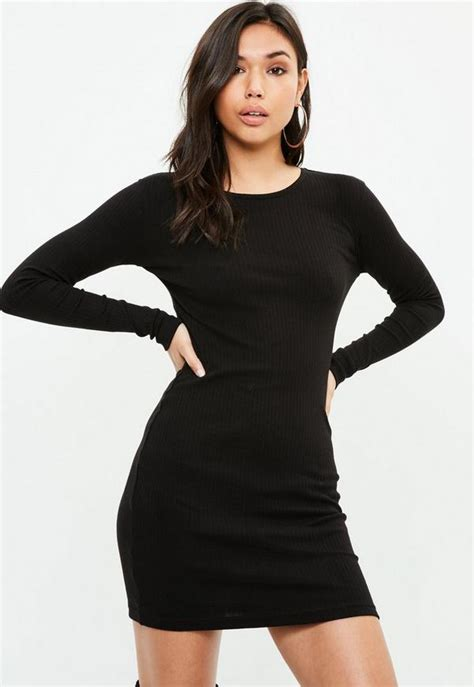 Black Long Sleeved Ribbed Mini Dress Missguided