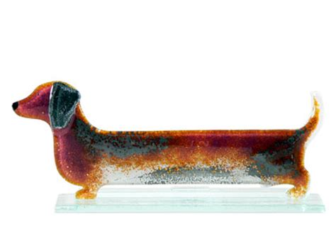 brown sausage dog fused glass table art