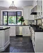Delectable White Kitchen Cabinets Slate Floor Gallery Kitchen Floor White Cabinets White Cabinets Grey Slate Flooring
