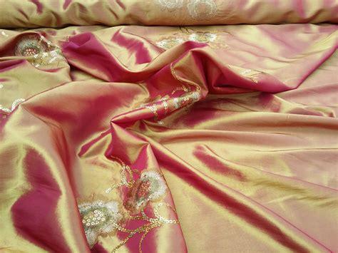 Embroidered Sequins Flowers Silk Taffeta Fabric Asian Sari