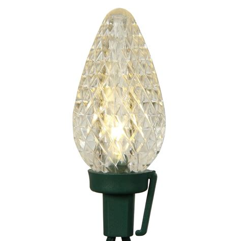25 clear c9 retro style led lights green wire 16ft