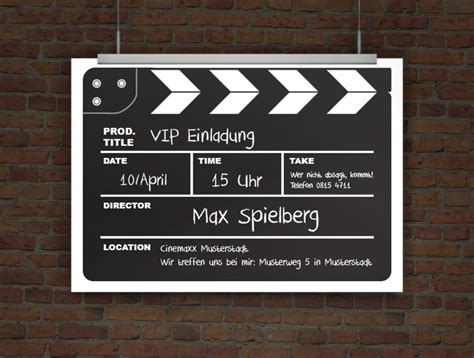 drucke selbst originelle einladungskarte kinogeburtstag