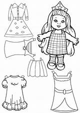Paper Coloring Dolls Pages Print sketch template